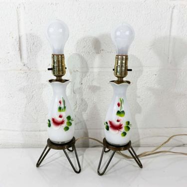 Vintage White Table Lamps Hand Painted Glass Light Decor MCM Rose Mid-Century Accent Lighting Pair Set Tripod Bedroom Cottagecore Floral by CheckEngineVintage