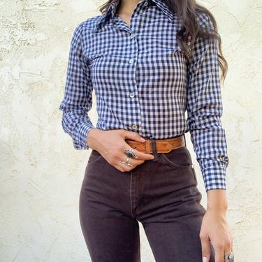 Vintage 1970's Ardee Gingham Pointed Collar Button Up Blouse by CottontailTrdPost