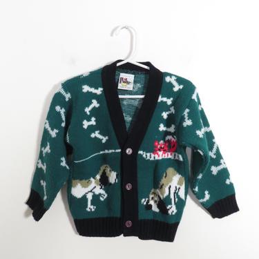 Vintage Kids Fox And Hound Knit Cardigan Size 6 by VelvetCastleVintage
