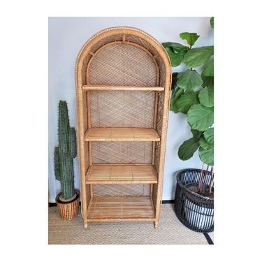 Vintage Wicker Etagere | Bohemian Large Arched Shelving Unit | Boho Rattan Shelfie | MCM Dome Bookshelf FREE SHIPPING!!! by SavageCactusCo