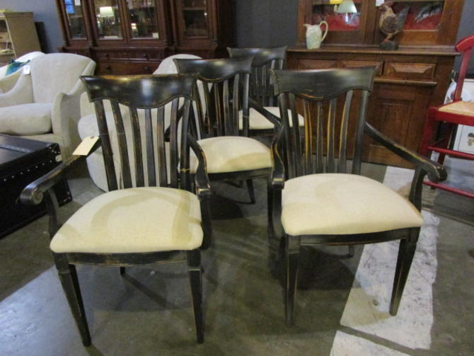 SET OF FOUR WOOD DINING CHAIRS