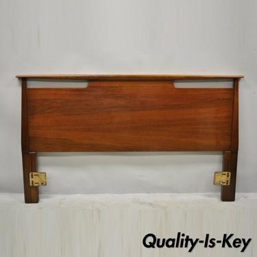 Vintage Mid Century Modern Sculptural Sculpted Walnut Full Size Bed Headboard