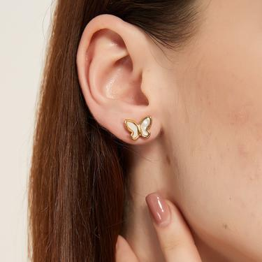 kate gold butterfly ear studs, butterfly earring, dainty butterfly earring, dainty ear studs, butterfly stud earring, minimal stud earring by MelangeBlancDesigns