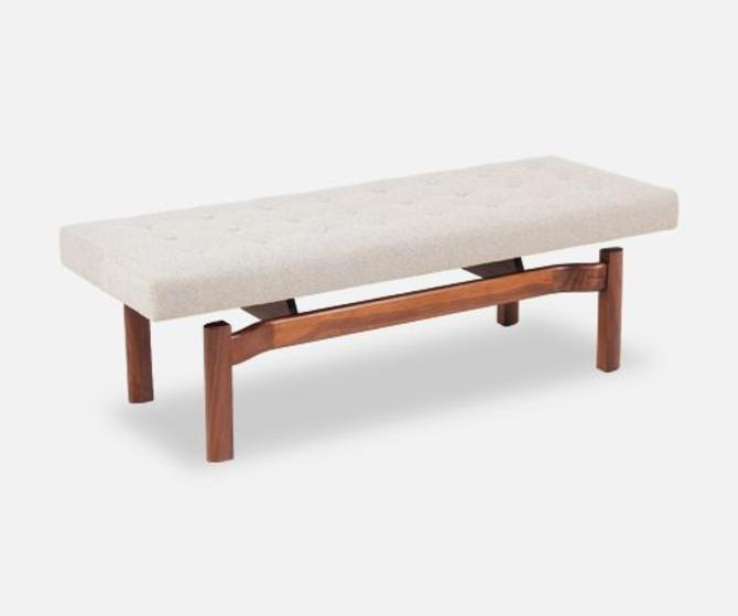 Mid-Century Modern Sculpted Floating Tufted Bench