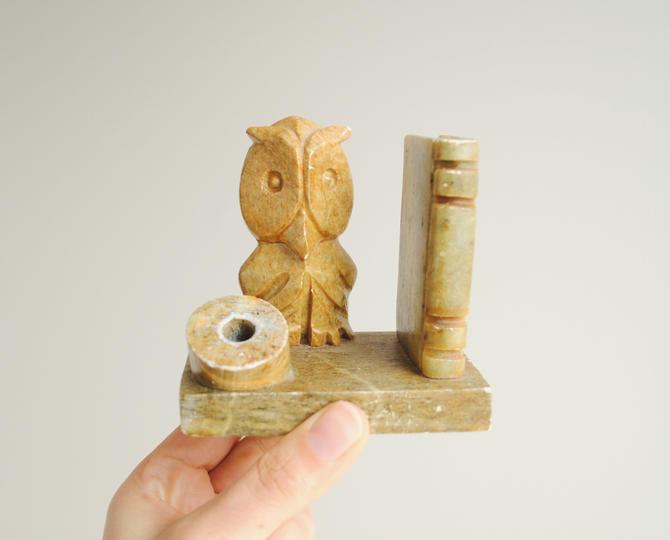 Vintage Soapstone Pen Holder, Mid Century Owl Pen Holder by LittleDogVintage