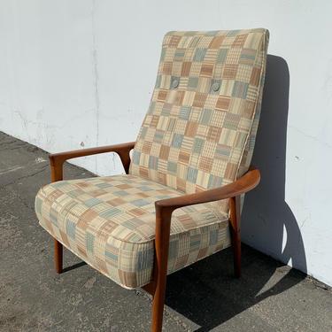 Mid Century Armchair Lounger Chair MCM Teak Danish Modern Sling Seating Eames Wood Lounge Vintage Retro High Back Living Room Furniture by DejaVuDecors