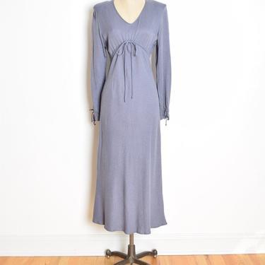 vintage 90s dress purple gray drawstring empire waist simple grunge maxi long M clothing by huncamuncavintage
