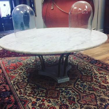 Mid Century Modern marble and brass coffee table  42  diameter  Super  sturdy with. Wishbone Reserve   ATTIC