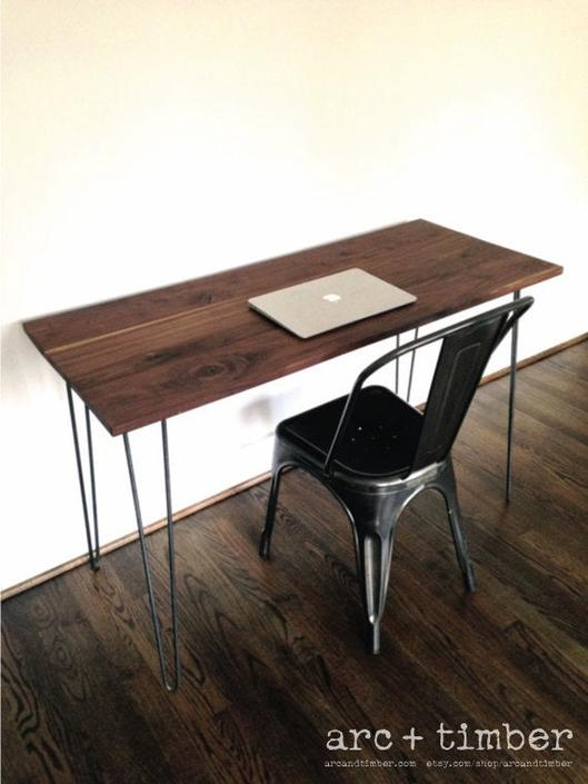 The MONTCLAIR Desk - Reclaimed Black Walnut & Hairpin Legs by arcandtimber
