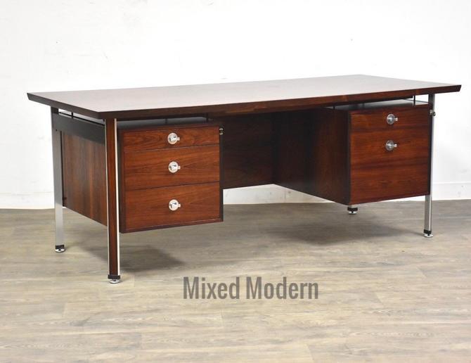 Rosewood & Aluminum Technocrat Desk by Finn Juhl by mixedmodern1