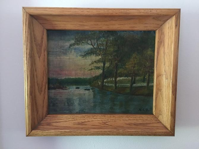 Vintage Muted water scene on light oak frame sunset oil on board unique beautiful colors impressionist signed H.C.D. midcentury blush by CaribeCasualShop