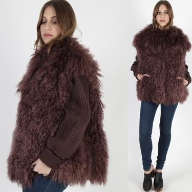 Vintage 80s Purple Mongolian Lamb Fur Coat 1980 Tibetan Curly Plum Sheep Long Shaggy Puffy Sweater Sleeve Knit Jacket With Pockets by americanarchive