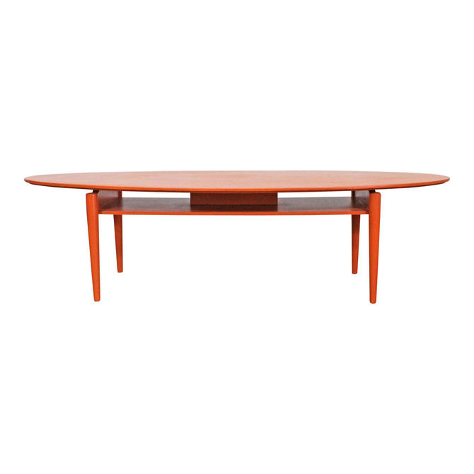 Mid-Century Modern Coffee Table Atomic Orange Elliptical Floating Top Shelf by AnnexMarketplace