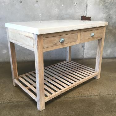 Teak Island with Marble Top and Two Drawers