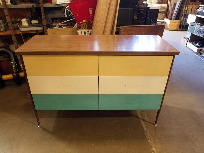 Vintage steel and wood Dresser