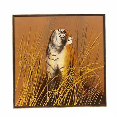 Signed Vintage mid century modern retro animal cat scenic deco framed mcm orange yellow brown by BigWhaleConsignment