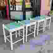 Roommate Romp   Set of Four Lacquered Stools by Lowenstein