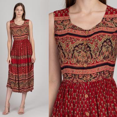 90s Boho Batik Midi Sundress - Small to Medium | Vintage Red Sleeveless Cinched Waist Button Front Dress by FlyingAppleVintage