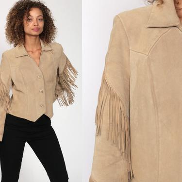 Suede Fringe Jacket 90s Tan Leather Jacket Pioneer Wear SOUTHWESTERN Boho 1990s Vintage Biker Coat Bohemian Hippie Women Medium by ShopExile