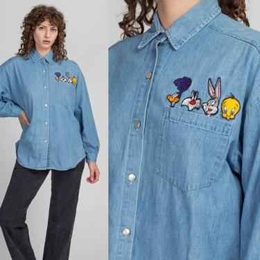 90s Looney Tunes Chambray Button Up Shirt - Men's Large | Vintage Disney Graphic Long Sleeve Collared Top by FlyingAppleVintage