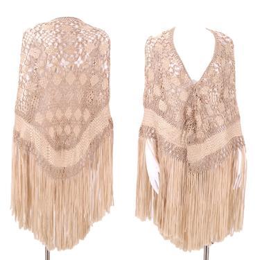 20s knotted silk ribbon fringe shawl / vintage 1920s antique ivory crochet Art Deco flapper wrap cape by ritualvintage
