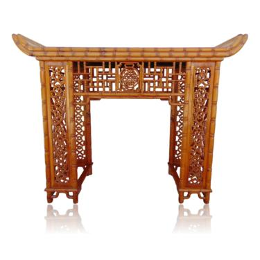 Carved Bamboo Chinese Chippendale Pagoda Console Altar Table by VeronaVintageHome