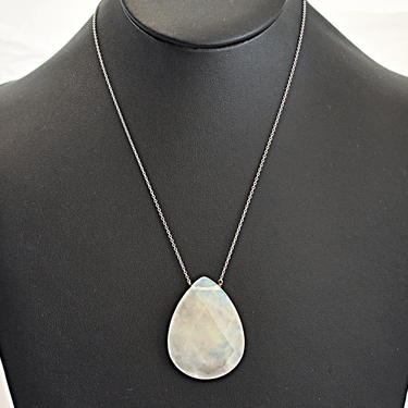 Elegant 80's opalite teardrop sterling minimalist affixed pendant, big faceted opalescent glass 925 silver rolo chain bling necklace by BetseysBeauties