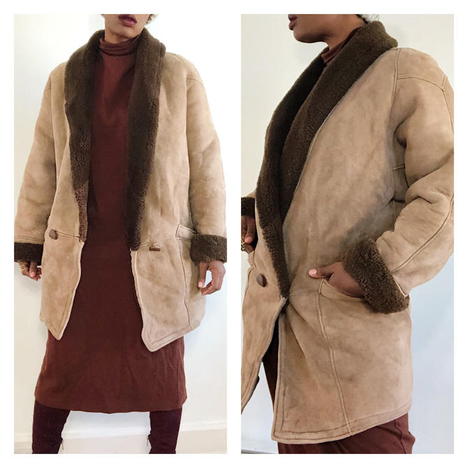 Vintage 1980s 1990s 90s Shearling Leather Suede Coat Sheep Skin Brown Tan Long Knee Length Lined Winter Oversized Boho Minimal Jacket by KeepersVintage