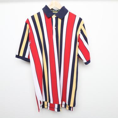 vintage 1990s y2k COLOR BLOCK tri-color striped vintage henley polo shirt -- size medium by CairoVintage
