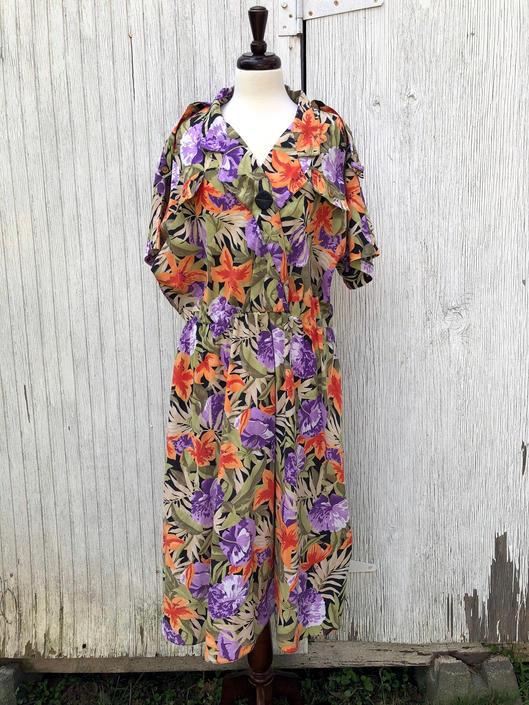 80s Plus Size Hawaiian Shirt Dress Safari Tropical Print ...