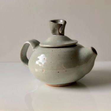 Vintage Studio Pottery Tea Pot wabi sabi, grey blue by Northforkvintageshop