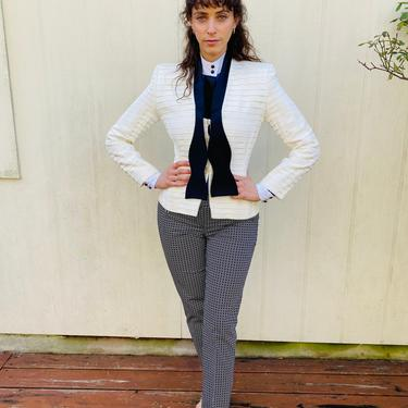 Vintage 90s Giorgio Armani Structured Tuxedo Pleated Black and white Fitted Blazer Jacket XS S by prismavintageatx