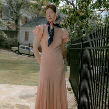 RARE Antique bias cut baby pink silk crepe gown OOAK Old Hollywood by DevoreVintage