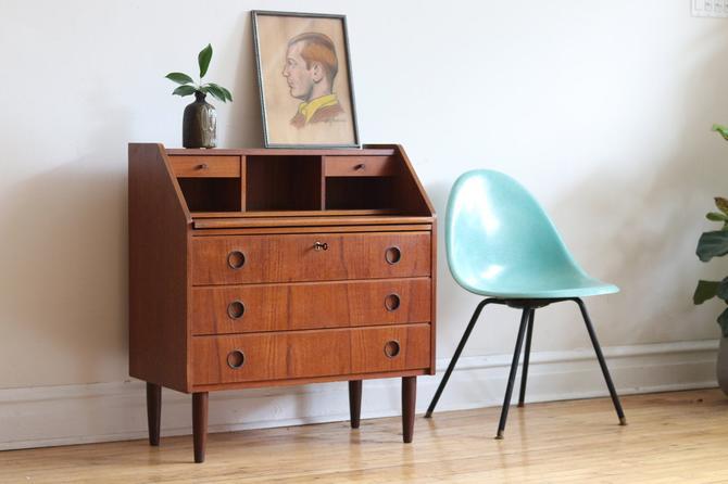 Mid Century Danish Modern Teak Secretary Desk by SharkGravy