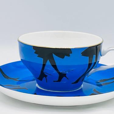 Blue Tea Cup Saucer Black Heels Porcelain Set Signed R Toledo Nordstrom- Great Condition by JoAnntiques