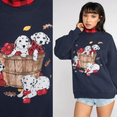 Dog Sweatshirt Puppy Sweater 80s Animal Sweatshirt Turtleneck Sweatshirt Vintage 90s Graphic Sweater Retro Kawaii Navy Blue Sweatshirt Large by ShopExile