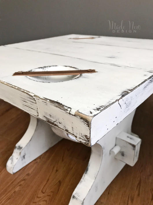 Pair Of Farmhouse Tables - White Distressed End Tables by madenewdesignct