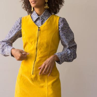 1970s Marigold Corduroy Jumper Dress by waywardcollection