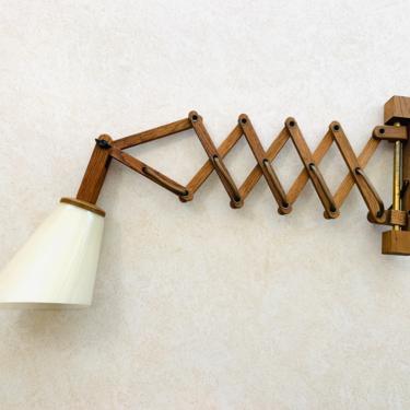 Danish Swing lamp, Teak Wall lamp, Retractable Lamp, Scissor Lamp, Denmark Teak lamp, Wall Lamp, Vintage Light Fixture, Mid Century Light by dadacat