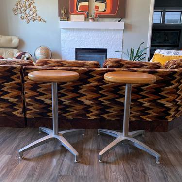 """Set of 2 Mid Century """"Herman Miller"""" Style Wood and Aluminum Industrial Stools by DesertCactusVintage"""