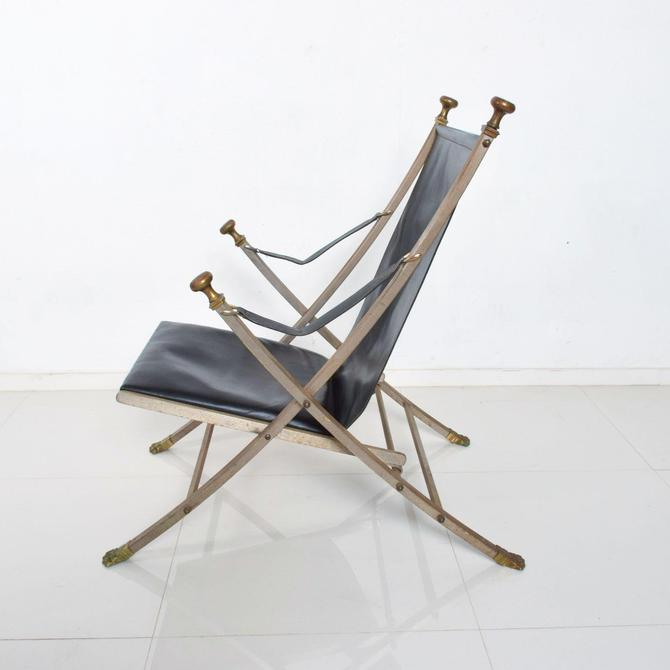 Maison Jansen Regency Bronze Campaign Leather Lounge Chair by AMBIANIC