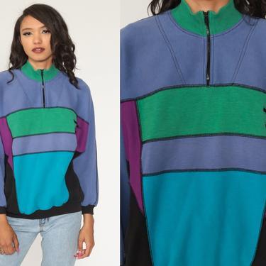 80s Color Block Sweatshirt Purple Blue Sweater Sportswear Quarter Zip Pullover 1980s Vintage Athleisure Medium by ShopExile
