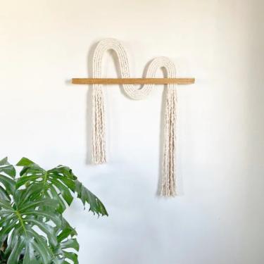 "Macrame Wall Hanging ""Ebb""- Textile Fiber Knot Art, Fringe Scandi Style, Bohemian Accent, Rope Art by shopcandiceluter"