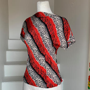1940s Silk Blouse Red White and Black 34 Bust Floral and Abstract Print by AmalgamatedShop