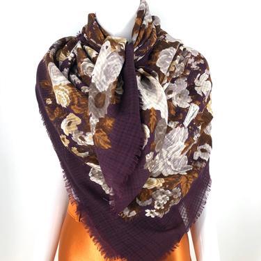 70s YSL yves saint laurent HUGE floral print wool scarf / vintage 1970s YSL shawl wrap 54 x 53 by ritualvintage
