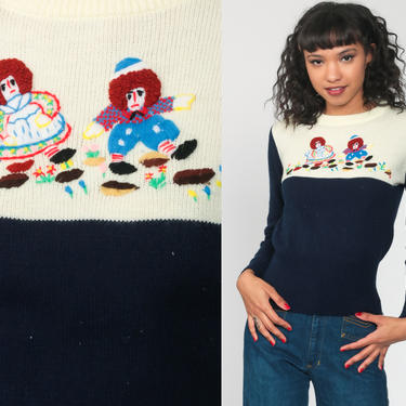 Raggedy Ann Sweater 70s Boho Sweater Kawaii Hippie Novelty Print Sweater Embroidered Sweater Andy 1970s Bohemian Knit Pullover Small s by ShopExile