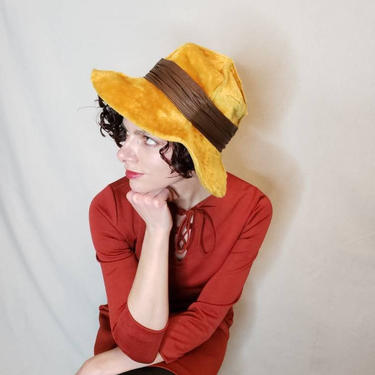 da8bea1f1ec 1970s Christian Dior Wide Brimmed Hat   70s Mustard Yellow Fedora Boho  Floppy Hat Designer Vintage
