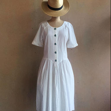 Vintage 80s 100% Wrinkled Cotton Drop Waist White Dress by LucileVintage