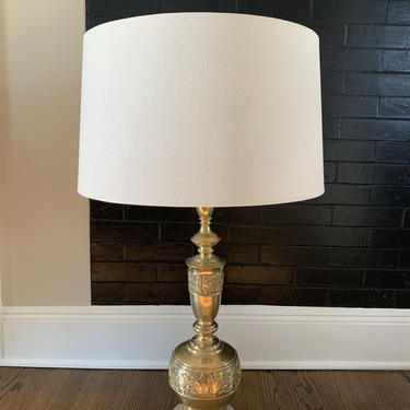 Mid Century Modern Asian Brutalist Aztec Motif Brass Table Lamp James Mont Style by TheFINDstuff4thehome