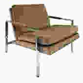 Milo Baughman Clean Line Lounge Chair in Chrome 1970s